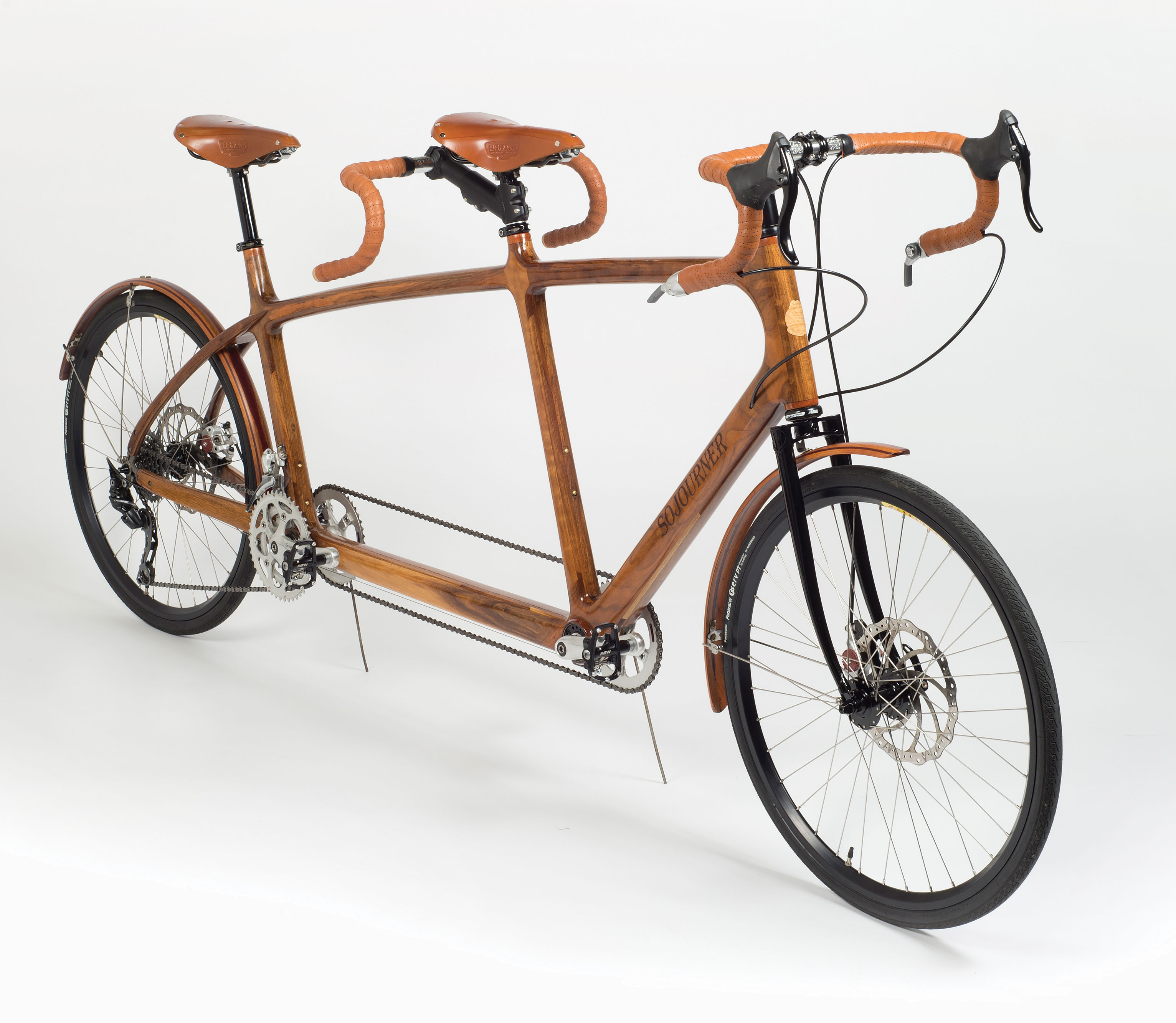 jay and his son took a tandem bicycle on a cross country camping trip - Wooden Bike Frame